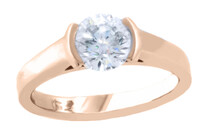 Round brilliant diamond set in 18ct Rose gold, Marc Bendall Christchurch engagement rings