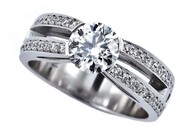 Round Brilliant diamond ring with Round brilliant diamond accents set in Platinum, Marc Bendall, engagement rings, chch