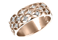 Filagree ring, round brilliant diamonds set in 9ct rose gold, Marc Bendall, engagement rings, Christchurch