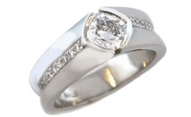 Cushion cut diamond with round brilliants set in Platinum Marc Bendall Engagement rings Chch