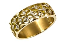 Filagree ring, round brilliant diamonds set in 18ct yellow gold, Marc Bendall, diamond rings, christchurch
