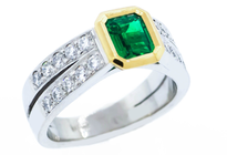 Emerald diamond rings, Marc Bendall, jewellers, christchurch