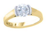 Round brilliant diamond ring set in Platinum & 18ct yellow gold, Marc Bendall, engagement rings, chch